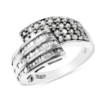 Load image into Gallery viewer, 0.50 Carat tw Diamond Bypass Ring in Sterling Silver - Size 7