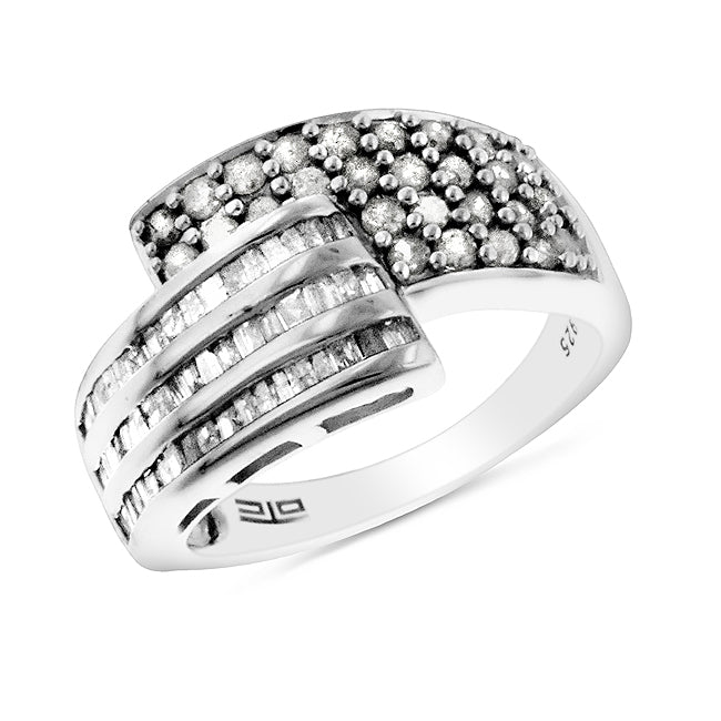 0.50 Carat tw Diamond Bypass Ring in Sterling Silver - Size 7