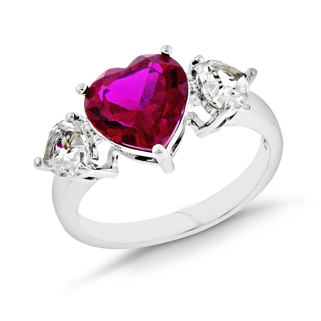 5.00 Carat tw Ruby & Sapphire Heart Ring in Sterling Silver