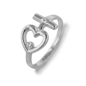 Sterling Silver Diamond Accent Purity Heart & Cross Ring