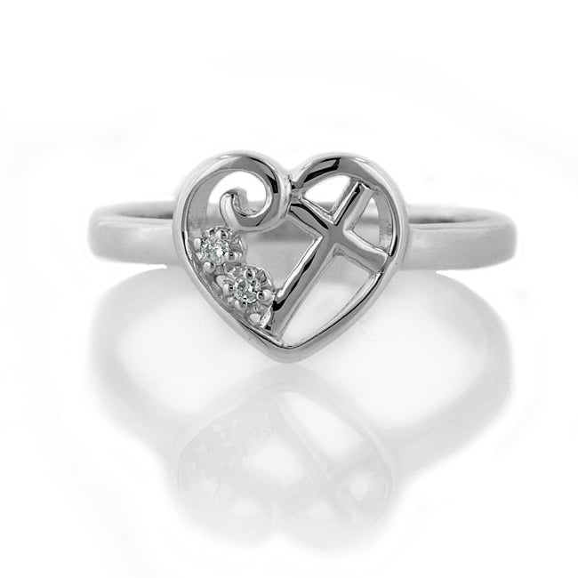 Diamond Accent Purity Heart & Cross Ring
