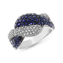 Load image into Gallery viewer, 1.00 Carat tw Blue & White Sapphire Sterling Silver Twist Ring - size 7