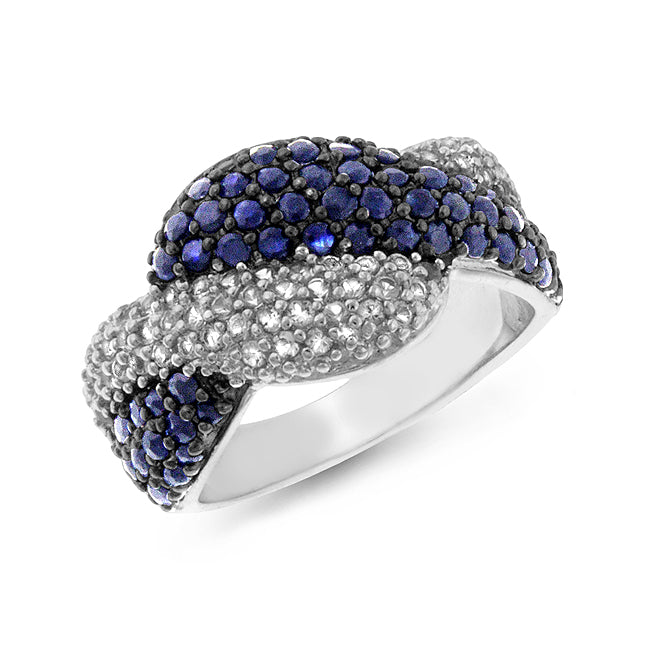 1.00 Carat tw Blue & White Sapphire Sterling Silver Twist Ring - size 7