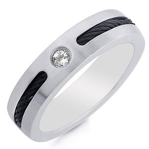 Stainless Steel Cable Ring with Created White Sappire