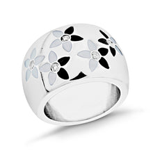 Load image into Gallery viewer, Stainless Steel Black & White Enamel Floral Ring