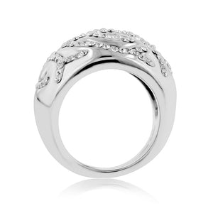 Branch motif crystal Stainless Steel Ring