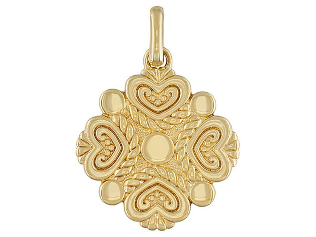 Heart Motif 18k Yellow Gold Over Bronze Pendant