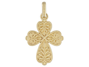 Palm Design 18k Yellow Gold Over Bronze Cross Pendant