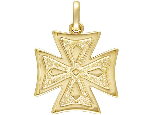 Canterbury Design 18K Yellow Gold over Bronze Cross Pendant