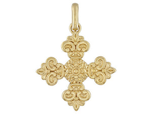 Textured And Polished 18k Yellow Gold Over Bronze Filigree Cross Pendant