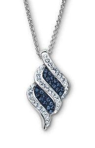 Platinum Over Bronze Blue Crystal Kite Stripe Pendant