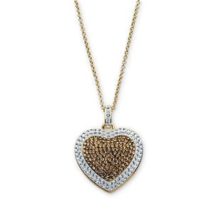 Gold Over Bronze Chocolate And White Heart Pendant