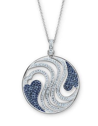 Platinum Over Bronze Blue Crystal Heart Medallion Pendant
