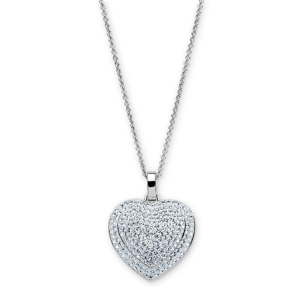 Platinum Over Bronze White Crystal Heart Pendant