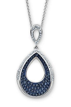 Platinum Over Bronze Blue Crystal Pear Drop Pendant