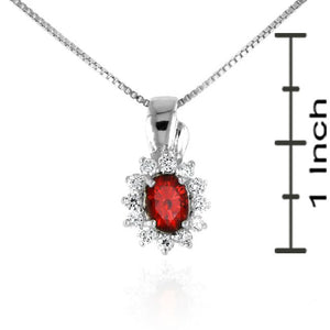 3.00 Carat tw Garnet & White Sapphire Pendant in Sterling Silver with Chain