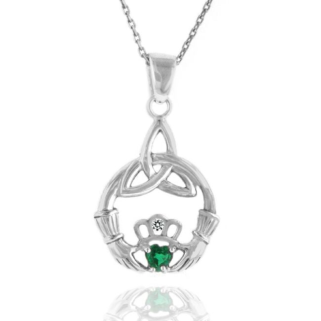 1/4 Carat Emerald & White Sapphire Claddagh Pendant in Sterling Silver