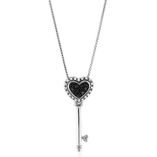 1/4 Carat tw Black & White Diamond Key Pendant in Sterling Silver