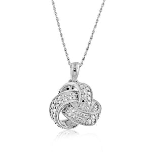 Sterling Silver Diamond Love-Knot Pendant
