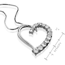 Load image into Gallery viewer, Sterling Silver White Sappire Heart Pendant