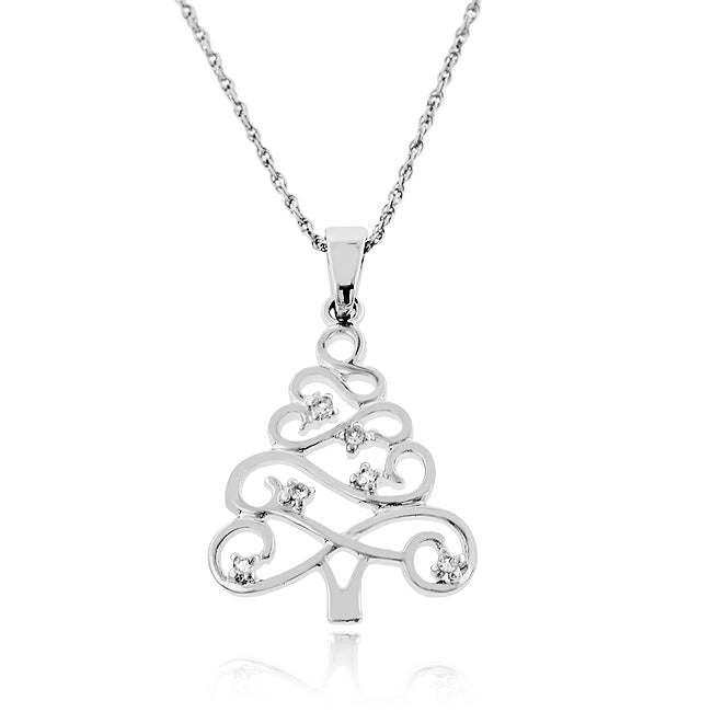 White Sapphire Christmas Tree Necklace in Sterling Silver