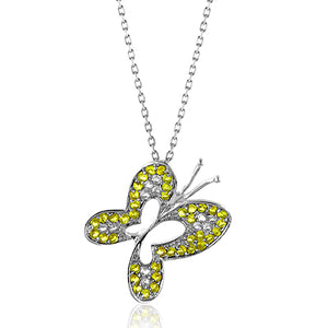 Sterling Silver Yellow & White Sapphire Butterfly Pendant