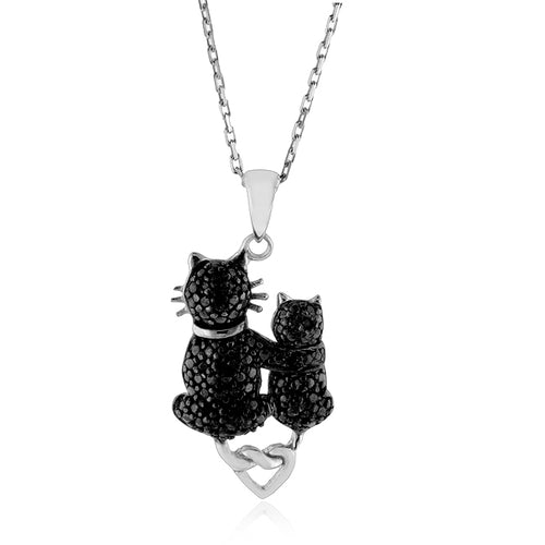 Sterling Silver Black Diamond Cats Pendant