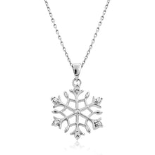 Load image into Gallery viewer, Sterling Silver White Sapphire Snowflake Pendant
