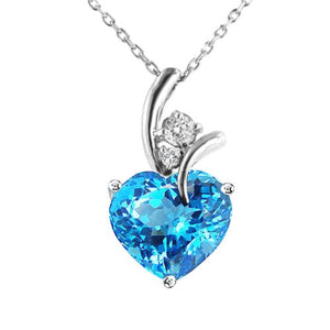 Heart Shape 9mm Created Blue Topaz Pendant in Sterling Silver