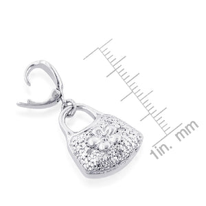 Sterling Silver Diamond Accented Purse Charm
