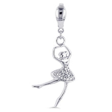 Load image into Gallery viewer, Sterling Silver Diamond Accented Ballerina Charm