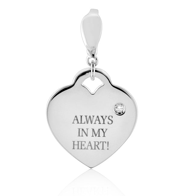 Sterling Silver Diamond Accented Heart Charm