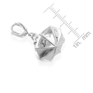 Sterling Silver Diamond Accented Umbrella Charm