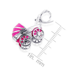 Load image into Gallery viewer, Sterling Silver Pink Enamel Baby Carriage Charm