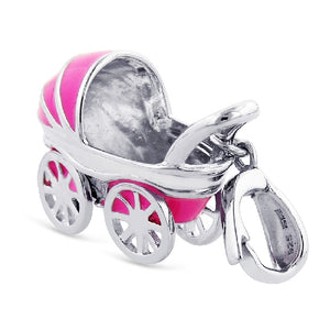 Sterling Silver Pink Enamel Baby Carriage Charm
