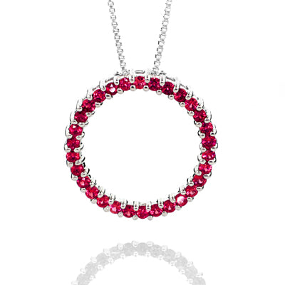 Sterling Silver Created Ruby Circle Pendant
