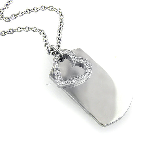 Stainless Steel & Cubic Zirconia Heart Dog Tag with Chain