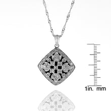 "Load image into Gallery viewer, 1/2 Carat TW Diamond Vintage-look Pendant in Sterling Silver with 18"" Chain"