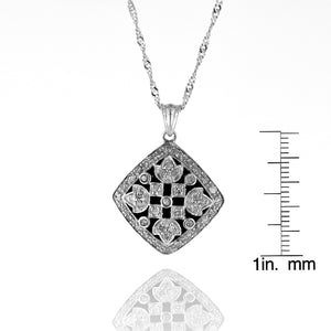 "1/2 Carat TW Diamond Vintage-look Pendant in Sterling Silver with 18"" Chain"