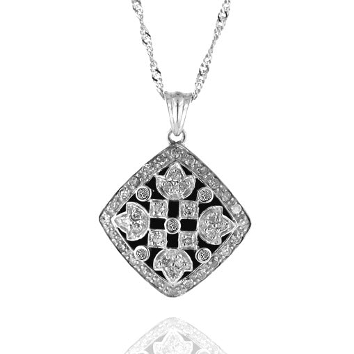 1/2 Carat TW Diamond Vintage-look Pendant in Sterling Silver with 18