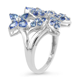 1.50 Carat Tanzanite & Sterling Silver Flower Ring - Size 7