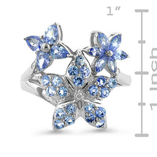 Load image into Gallery viewer, 1.50 Carat Tanzanite & Sterling Silver Flower Ring - Size 7