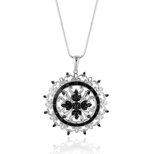 1.00 Carat Treated Black Diamond Sterling Silver Pendant with 22