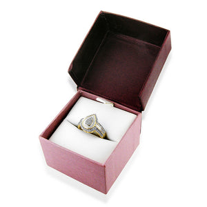 0.15Ct TW Diamond Teardrop Ring in Gold Plated Sterling Silver
