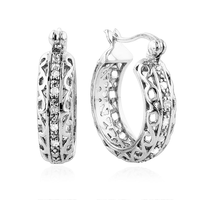 0.28ct TDW Diamond Hoop Earrings in Sterling Silver