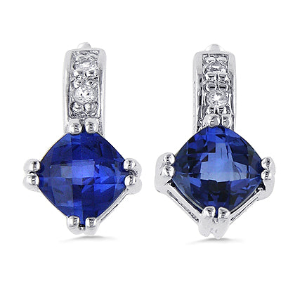 Sterling Silver Synthetic Tanzanite Earrings