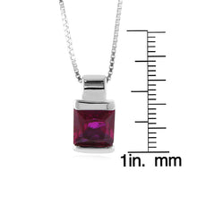 "Load image into Gallery viewer, Sterling Silver Created Ruby Solitaire Square Pendant/Necklace with 18"" Chain"