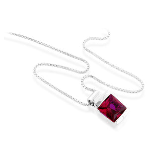 "Sterling Silver Created Ruby Solitaire Square Pendant/Necklace with 18"" Chain"