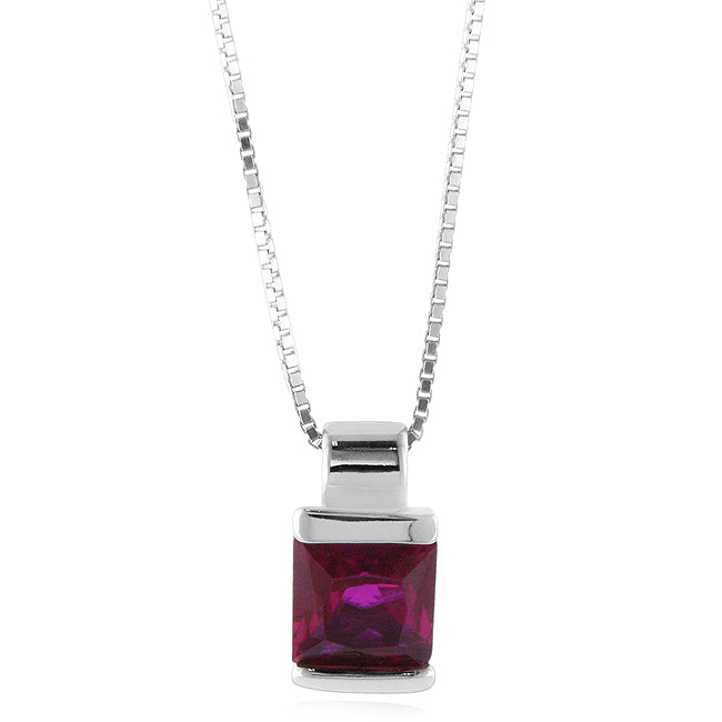 Sterling Silver Created Ruby Solitaire Square Pendant/Necklace with 18