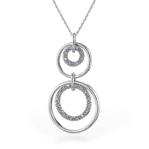 Diamond Accented Circles Pendant in Sterling Silver